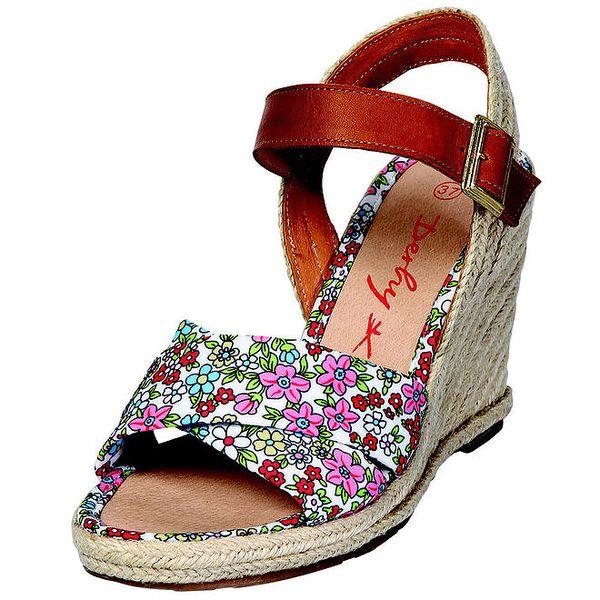 Dámské bílé sandály Derhy s květinovým vzorem