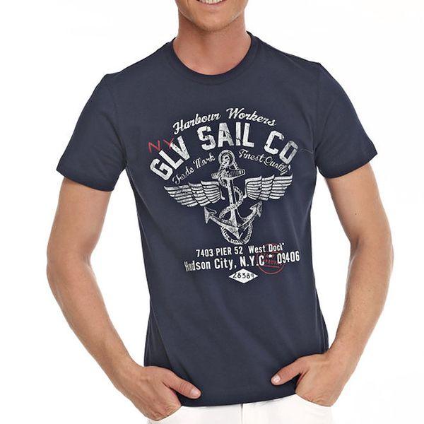 Pánské tmavě modré tričko s námořnickým potiskem Galvanni