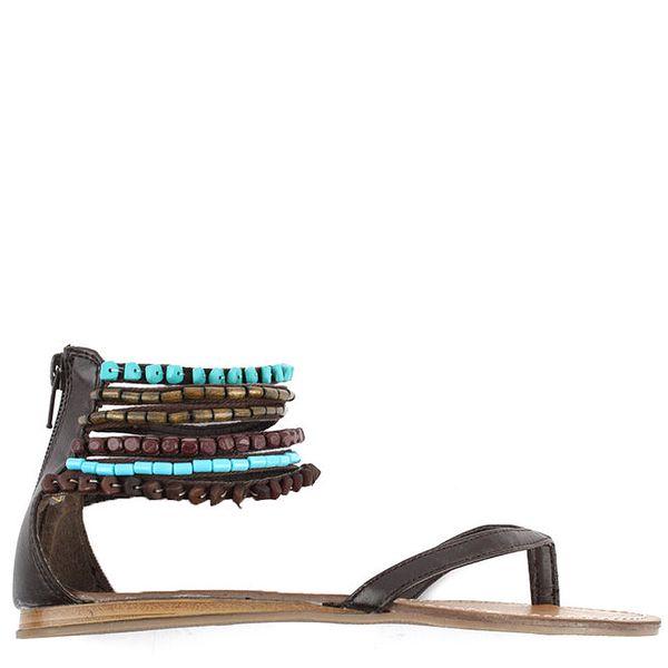 Dámské sandálky s tyrkysovými korálky Toscania