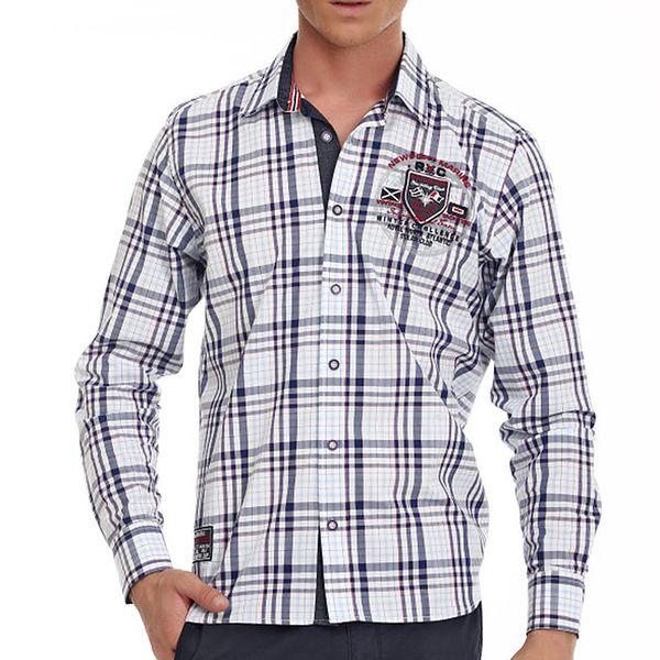 Pánská bílo-modrá károvaná košile Galvanni s nášivkami na loktech