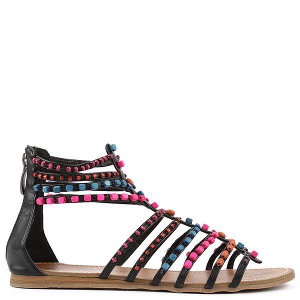 Dámské černé sandálky s barevnými korálky les Tropeziennes