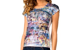 Dámské tričko s barevným abstraktním potiskem Seven LA