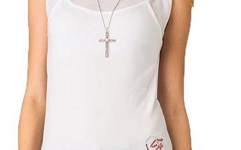 Dámský bílý top s transparentními rameny Seven LA