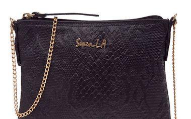 Dámská černá kožená kabelka s řetízkem Seven LA