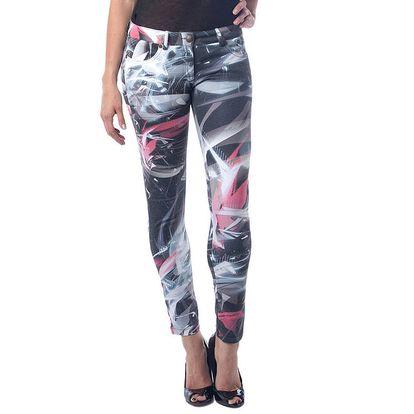 Dámské černé kalhoty s bílo-červeným potiskem Seven LA