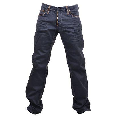 Pánské tmavé džíny s oranžovým prošíváním RNT23