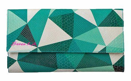 Dámské psaníčko s tyrkysově zeleným geometrickým motivem Seven LA
