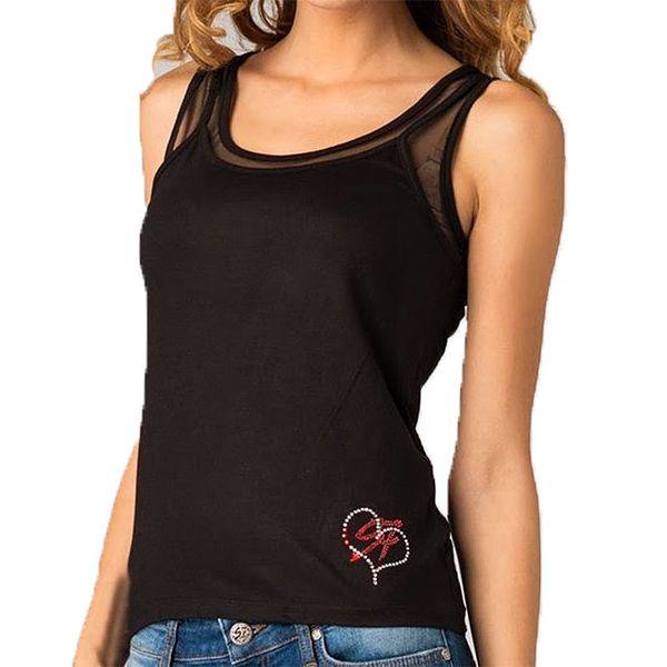 Dámský černý top s transparentními rameny Seven LA