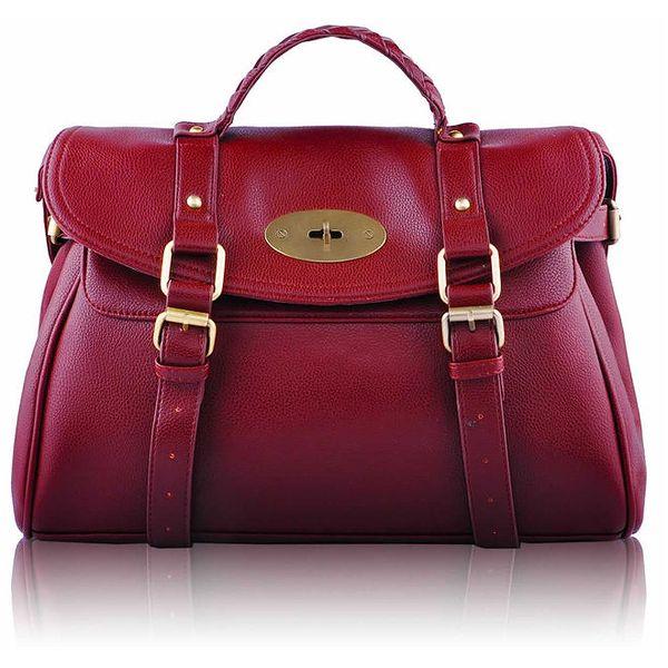 Dámská červená kabelka s přezkami a zámečkem Nubiz