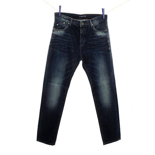 Pánské tmavě modré džíny s šisováním na kolenou Fuga