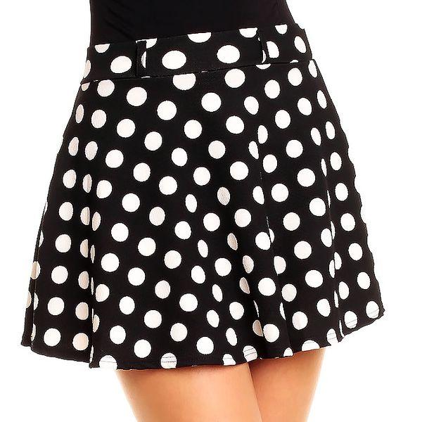 Trendy sukýnka černá s puntíky - Universal L/XL