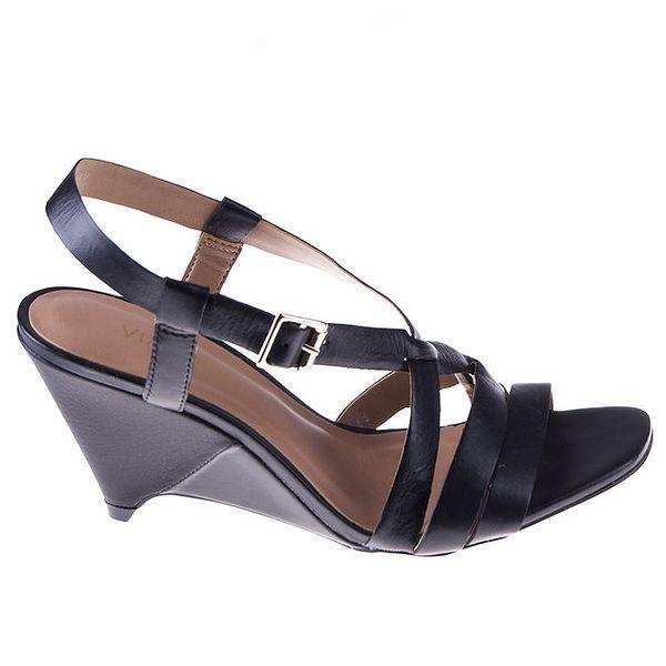 Dámské černé kožené páskové sandálky na klínu Via Uno