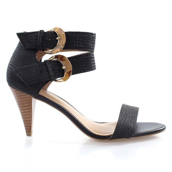 Dámské černé sandálky se dvěma přezkami Via Uno