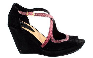 Dámské fuchisovo-černé sandálky na platformě s hadím vzorem Bagatt