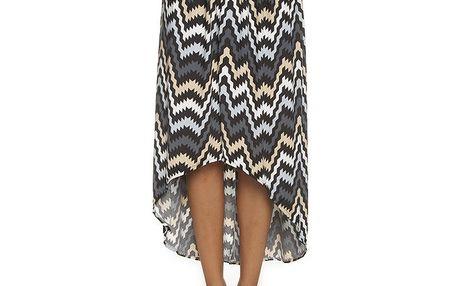 Dámská šedo-béžová sukně Blue Velvet s geometrickým vzorem (UNI)
