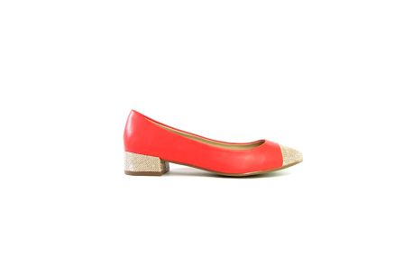 Dámské červené kožené baleríny s béžovými detaily Shoes in the City