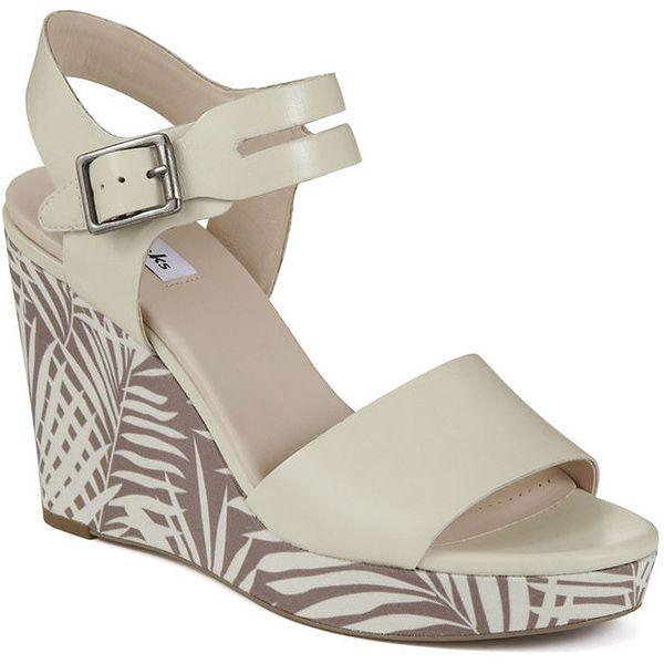 Dámské krémově bílé boty na vzorovaném klínu Clarks