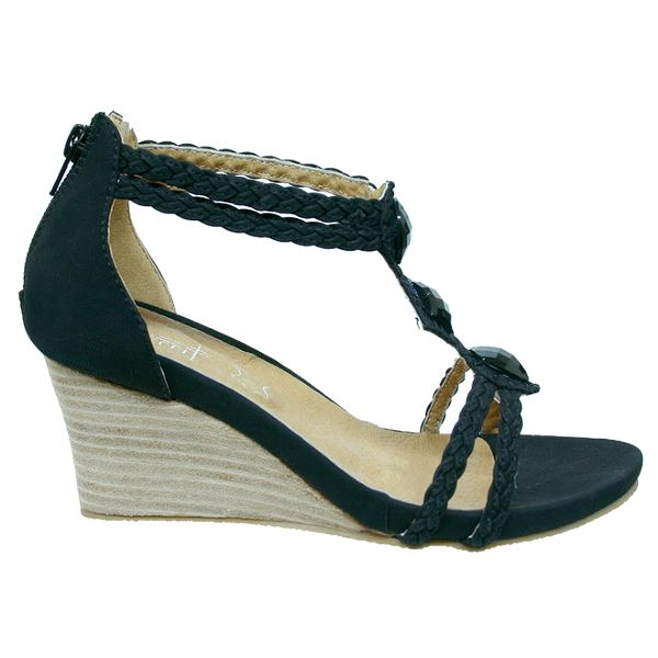 Dámské černé sandálky s copánkovými pásky Vanelli