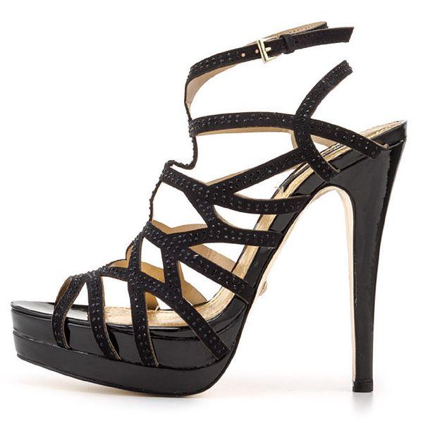 Dámské černé páskové sandálky na vysokém podpatku Blink