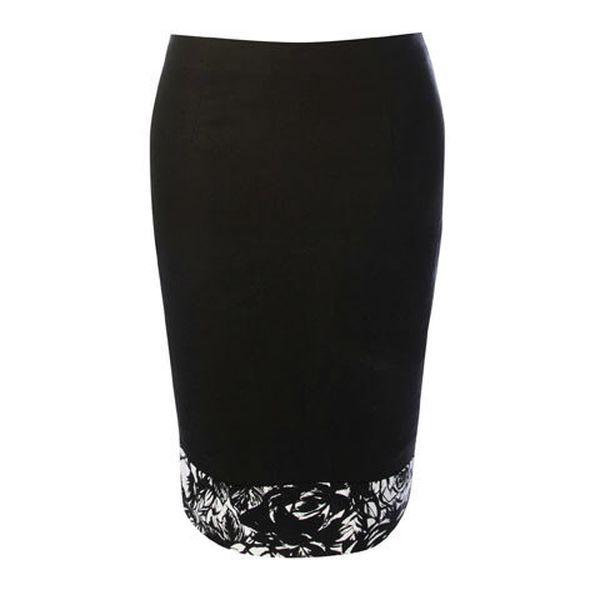 Dámská černá úzká sukně s černo-bílým lemem Fever