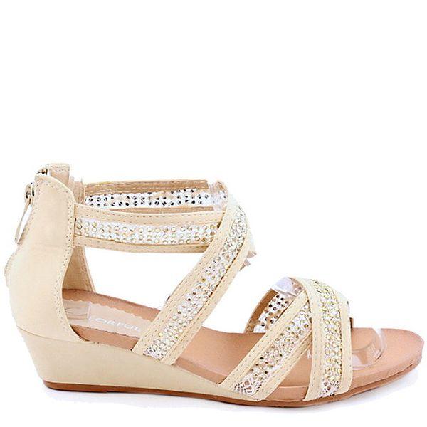 Dámské béžové ozdobné sandálky Colorful