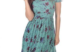 Dámské modré šaty s plisovanou sukní Azura