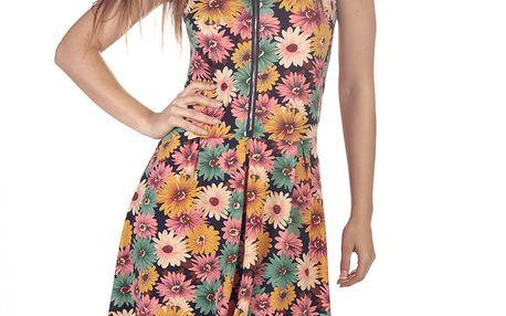 Dámské květinové šaty se zipem v dekoltu Azura