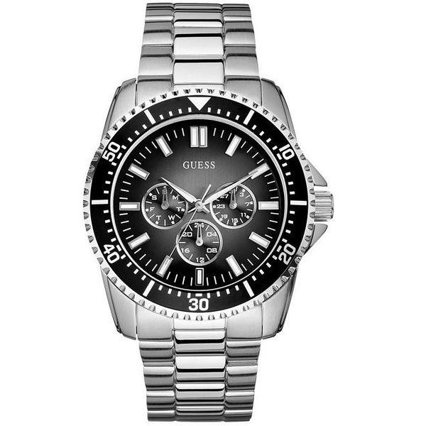Pánské ocelové hodinky s chronografem a černým ciferníkem Guess