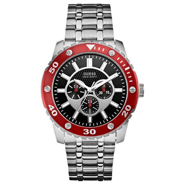 Unisex ocelové hodinky s černým ciferníkem a červenou lunetou Guess
