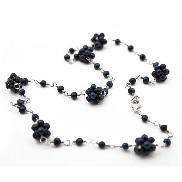 Dámský černý kytičkový perlový náhrdelník Orchira