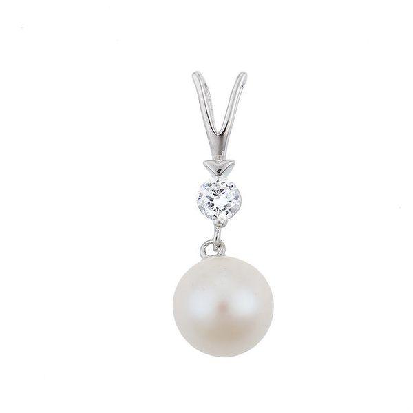 Dámský stříbrný přívěsek s kulatou perlou a zirkonem Orchira