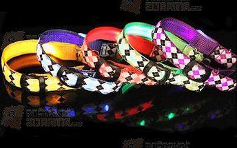 Svítící LED obojek pro psy s károvaným vzorem a poštovné ZDARMA! - 17206987