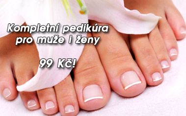 Kompletní mokrá PEDIKÚRA včetně změkčující lázně a jemné relaxační masáže nohou! Nabídka pro muže i ženy! Dopřejte si péči pro zdraví a krásu vašich nohou ve známém salonu Imperial Beauty v samém centru Prahy u metra Náměstí Republiky!!