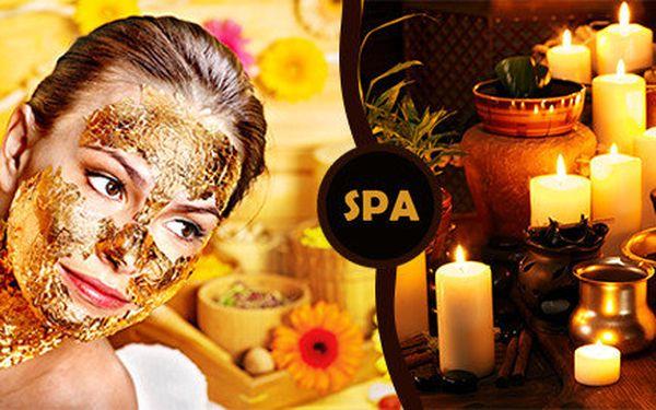 Luxusní masáž celého těla olejíčkem - 24 karátové zlato a vinný peeling zad