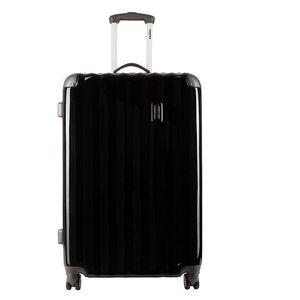 Menší černý kufr s šedými rohy Renoma