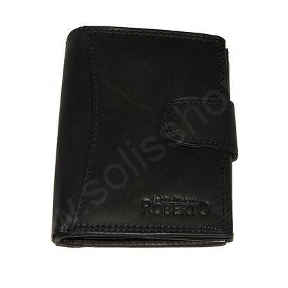 Pánská kožená peněženka ROBERTO s přezkou černá