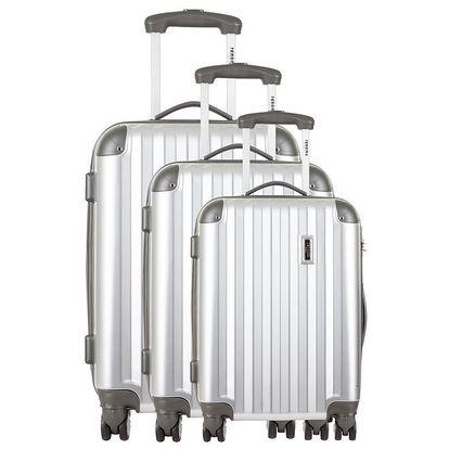 Sada tří stříbrných cestovních kufrů Renoma