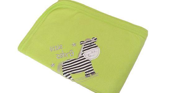 Letní dětská deka bavlna s výšivkou - zebra - Lime