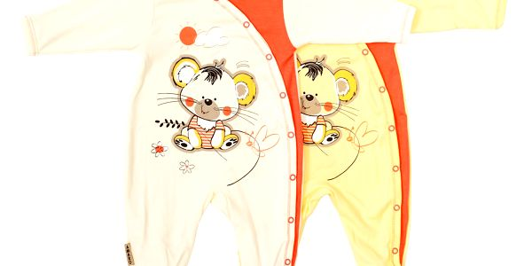 Roztomilý kojenecký bavlněný overal s potiskem - Myška - ecru vel. 62