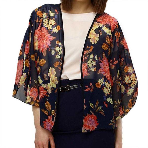 Dámské tmavomodré květinové kimono Deck