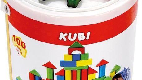 Dřevěné barevné kostky KUBI 100ks Bino 84196