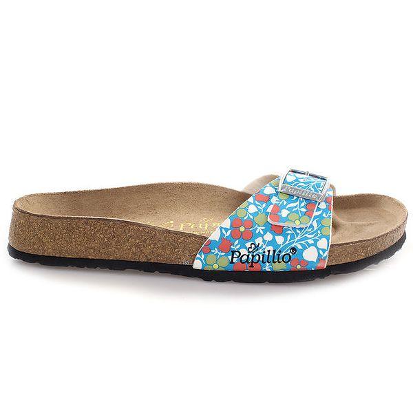 Hnědé pantofle s modrým páskem s květinovým vzorem Papillio