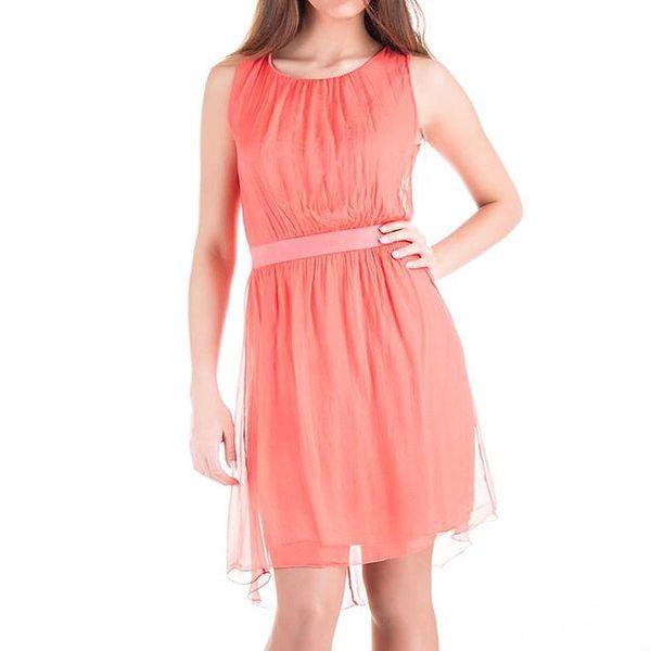 Dámské korálově červené hedvábné šaty bez rukávů Keysha