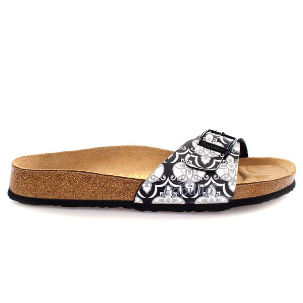 Hnědé pantofle s tmavě vzorovaným páskem Papillio