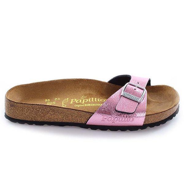 Hnědé pantofle s růžovým páskem Papillio
