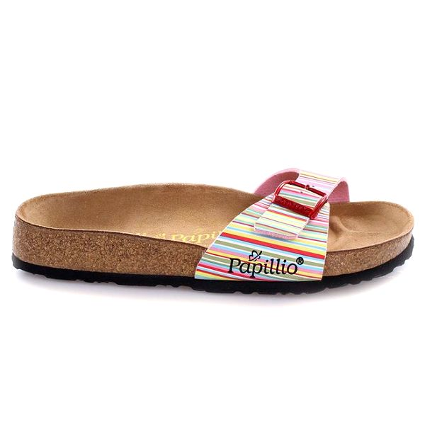 Hnědé pantofle s barevně pruhovaným páskem Papillio
