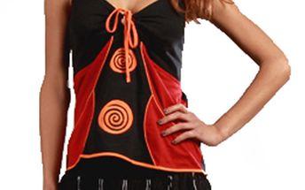 Dámský černý top červenými a oranžovými prvky Aller Simplement