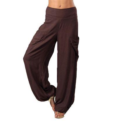 Dámské tmavě hnědé kalhoty s kapsami Aller Simplement