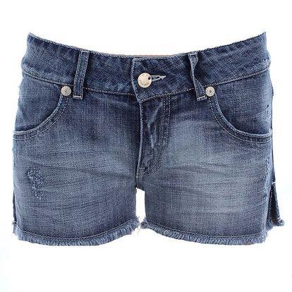 Dámské modré džínové kraťásky s oděrkami MET