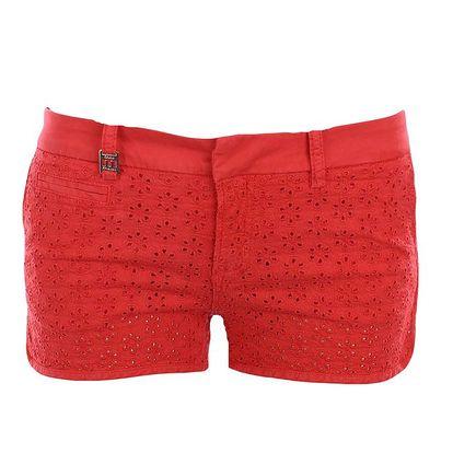 Dámské červené šortky s perforovaným vzorem MET